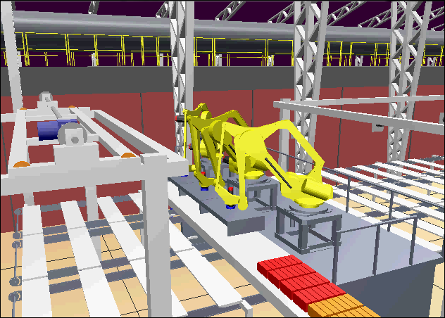 Graphical simulation of an industrial robot.