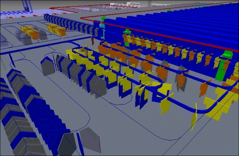 Graphical simulation of a clothing warehouse.