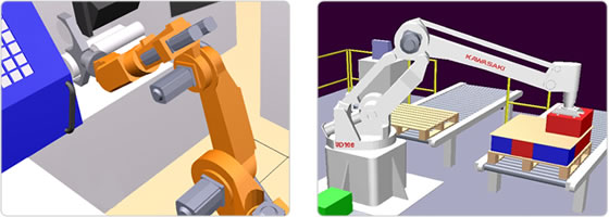 A robot in a machine loading application and a kawasaki robot in a paletising application