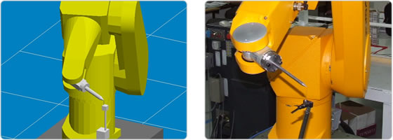 Calibration of a Staubli robot, the image shows the simulation and the actual robot.